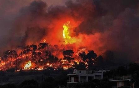В Греции начались масштабные лесные пожары